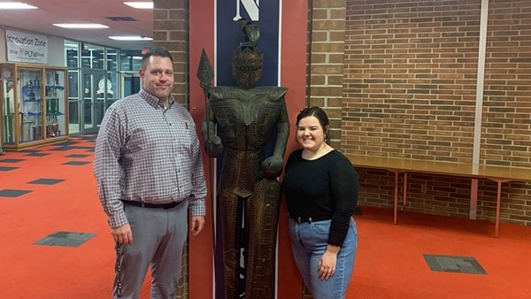 South Dearborn High School Science Teacher and mentor Pete Brown and SDHS Senior Alyssa Baker